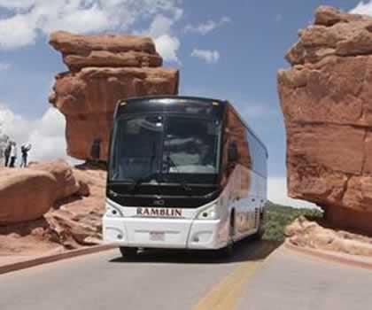 Ramblin Express Bus at Garden of the Gods, Colorado