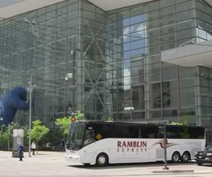 56-Seat Luxury Charter Bus in Downtown Denver, Co